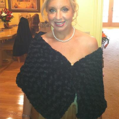 The bride's mother made us these faux Persian lamb capelets for our dresses.