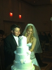 Dr. & Mrs. cut the cake