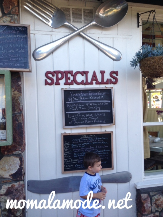 Roc checking out the specials outside of Americana in Del Mar, CA
